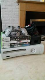 White 60gb xbox 360 with games