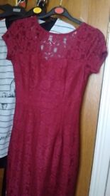 Dorothy Perkins wine coloured lace dress size 8
