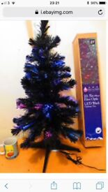 Black fibre optic 6ft Christmas tree