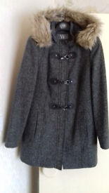 Ladies Grey Coat with Fur Trimmed Hood - Size 14