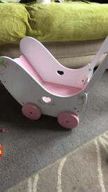 Dolls wooden buggy
