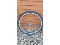 Mountain bike bicycle front quick release Rigida 26' alloy wheel with tube and tyre