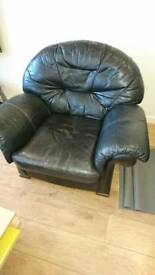 Two black leather seats