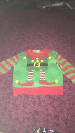 Christmas elf jumper age 12-18 months excellent condition
