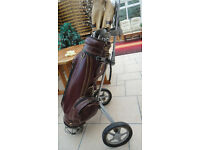 Set of 14 R/H dunlop blue max golf clubs bag and trolley possibly vintagegolf club