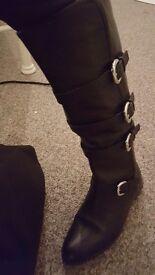 Ladies Black Leather Karen Millen Ruding Boots