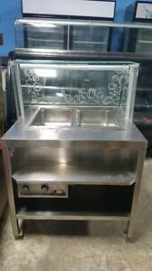 2 WELL STEAM TABLE WITH CURVED GLASS SNEEZE GUARD