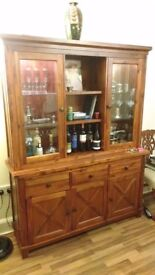 Acacia wood display cabinets and coffee table/media unit