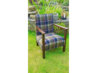 Rustic chair completely reupholstered, covered in wool tartan