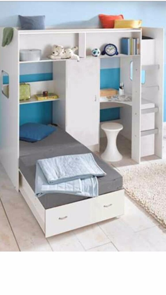 High Sleeper Loft Style Cabin Bed With Futon Guest