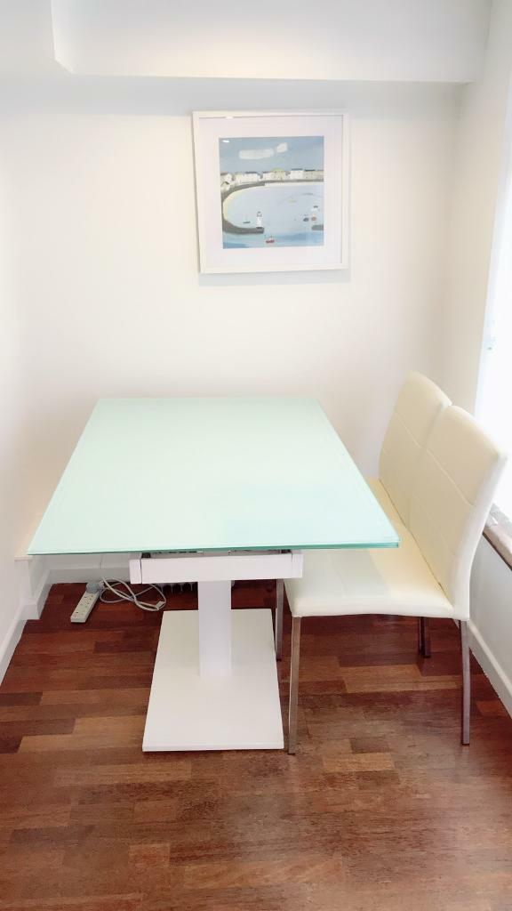Dwell ice white gloss dinning table for 300