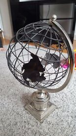 black and chrome globe handcrafted unique piece