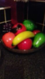 glass fruit and glass bowl