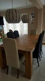 DANSK Solid Oak Dining table and 4 damask chairs