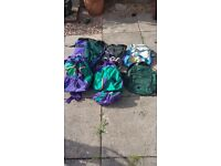 Selection of rucksacks and camping bags, some brand new, others only used a few times