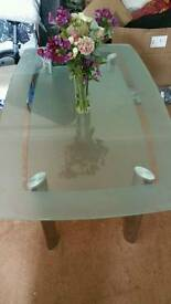 Glass table + four chairs