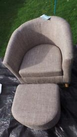 NEW TUB CHAIR SET WITH FOOTSTOOL TWEED