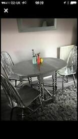 Table and three chairs wood painted silver
