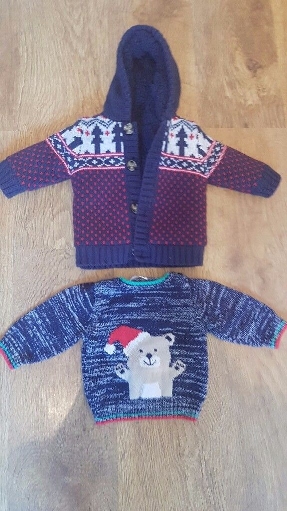 Thick fleecy cardigan/hoodie and Christmas jumper- 3 - 6 months