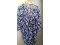 Ladies Beach Cover Up Quick Dry Blue White Soft Fabric One Size