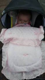 lovely pink car seat cosy toes,