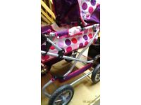 Girls Play Pram MAMAS&PAPAS with matching changing bag ALSO fashion boutique toy w/light up window
