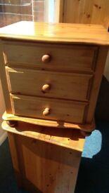 Pine 3 Drawer Bedside