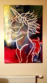 Unique Original Artwork in Acrylic on Canvas - 'Unicorn'
