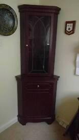 Mahogany effect corner cabinet