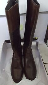Ladies size 7 New knee length brown leather boots unwanted Christmas present