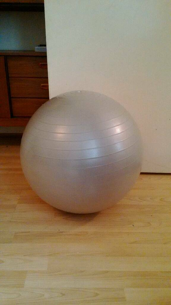 Anti-burst grey gym exercise ball