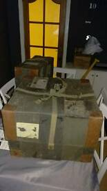Fibreboard Travel Trunk Case Military x2 Owned by Captain The 9th Earl of Roden