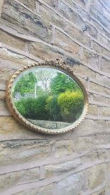 Vintage Antique Wall Hanging French Mirror Gilt Gold Golden Oval Shabby Chic