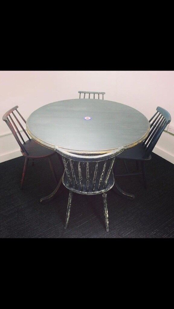 'MOD' inspired upcycled antique pine table & chairs - MOD' Inspired Upcycled Antique Pine Table & Chairs In Bathgate
