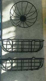 Wrought iron troughs/planters & hanging basket