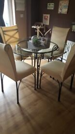 Glass & Wrought iron Table and chair set