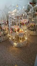 wedding accessories - birdcage with flowers and pearl lights x 6