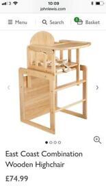 Combination wooden highchair