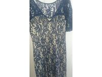 Navy and cream lace dress