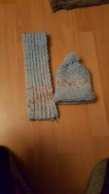 Handmade toddler boy hat and scarf set