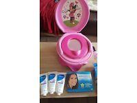 Advanced white teeth whitening kit (sealed) 3 sealed oilatum shower gels + Musical minnie potty