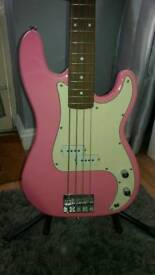 Wesley precision bass guitar in pink