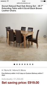 Oak dining table, 6 leather chairs