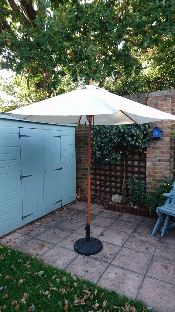 Large Cream Coloured Garden Parasol with Black Base