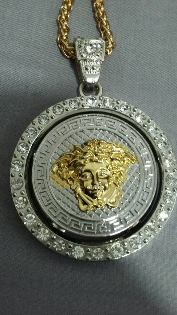 Mens big versace spinning pendant with 30 inch gold necklace in mens big versace spinning pendant with 30 inch gold necklace mozeypictures Images