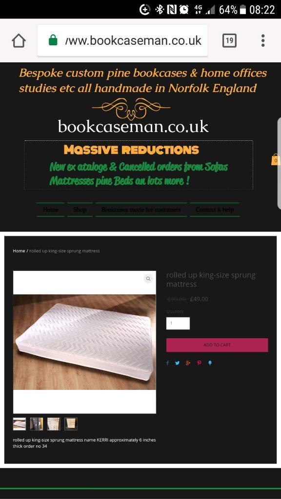 New king size mattress was £99