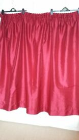 Pair of curtains, deep red faux satin - £10 ono