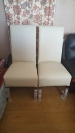 Brand new 2 leather cream chairs £75
