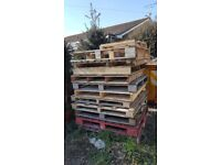Various wooden pallets