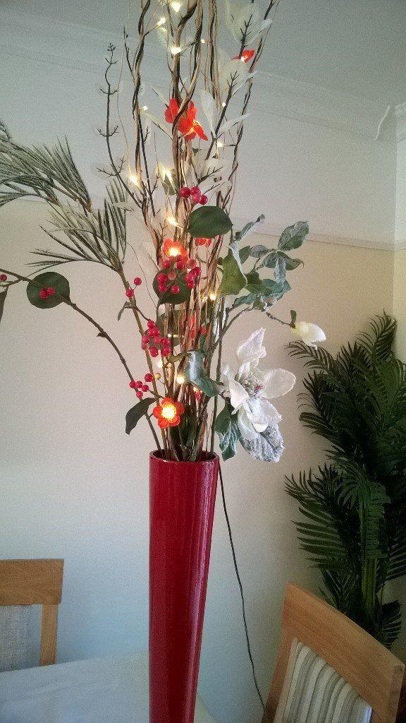 Christmas Vase Red With Lights Lights Flowers In Stourbridge